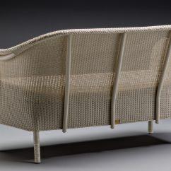 Lloyd Loom Montpellier Settee In Crisp Linen