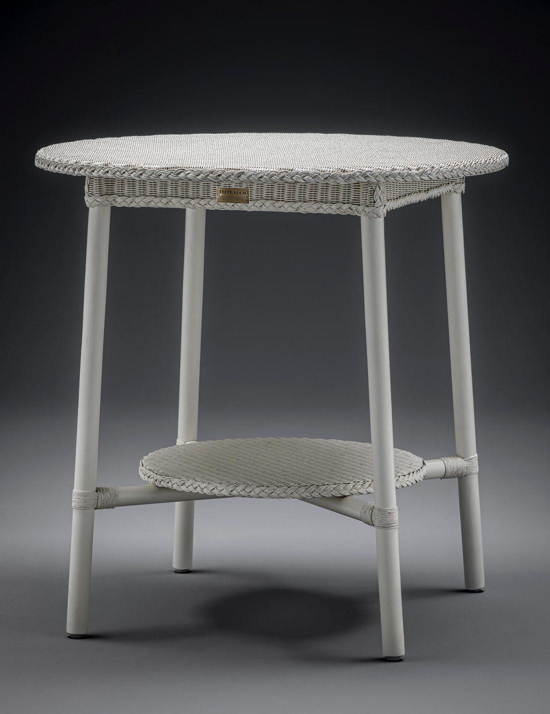 Lloyd Loom Café Grande Table In Crisp Linen