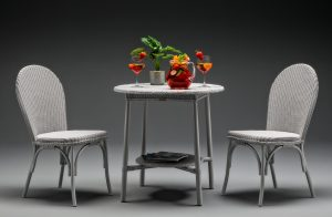 284- Grey outdoor bistro set Pimms