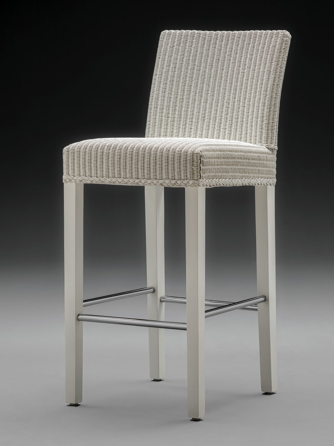 Lloyd Loom Belgravia Bar Chair Front View Soho White