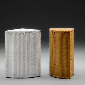 Lloyd Loom Corner Linen Baskets With Lids Closed