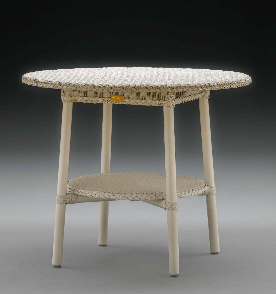 Lloyd Loom Café Table In Crisp Linen