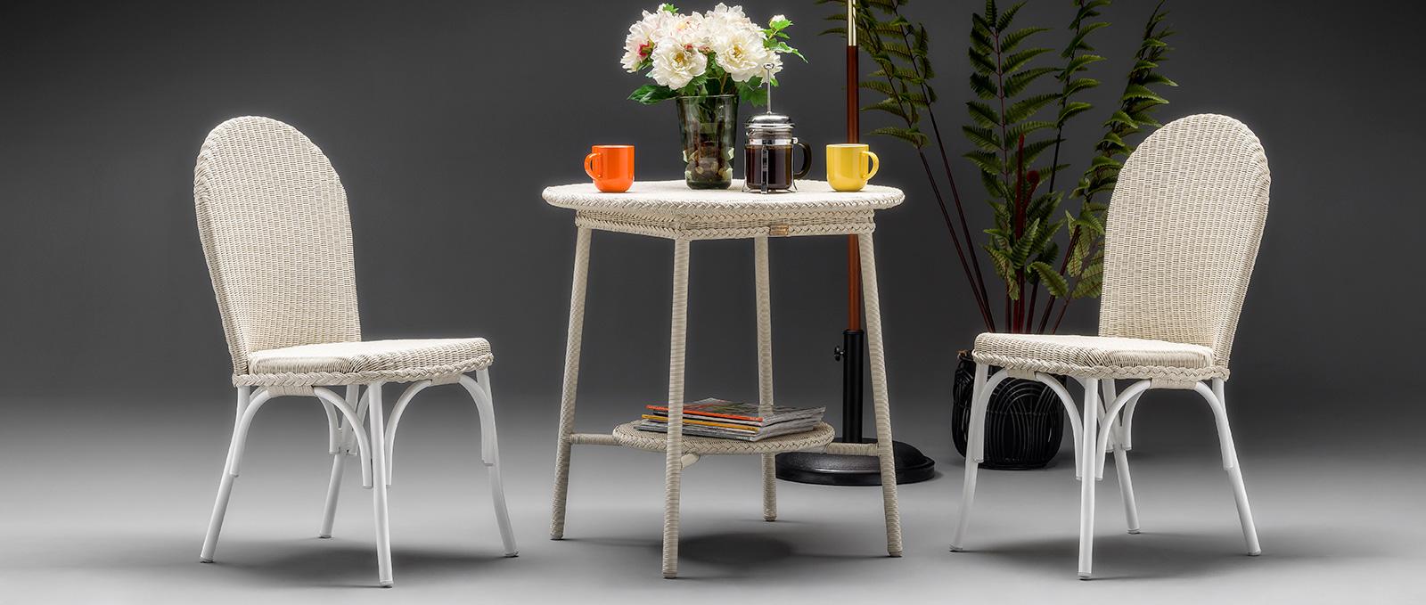 Lloyd Loom Bistro Outdoor Furniture Range - Blenheim Range - Crisp Linen