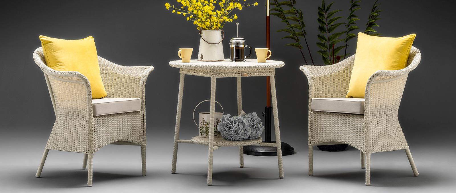 Lloyd Loom Furniture Outdoor Range - Blenheim Range - Crisp Linen