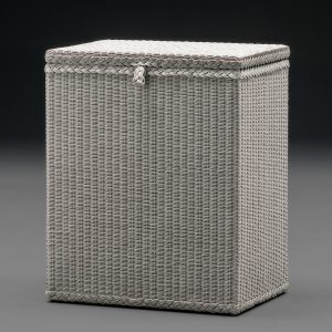 Lloyd Loom Linen Basket Rectangular Soho White Close Lid Front View
