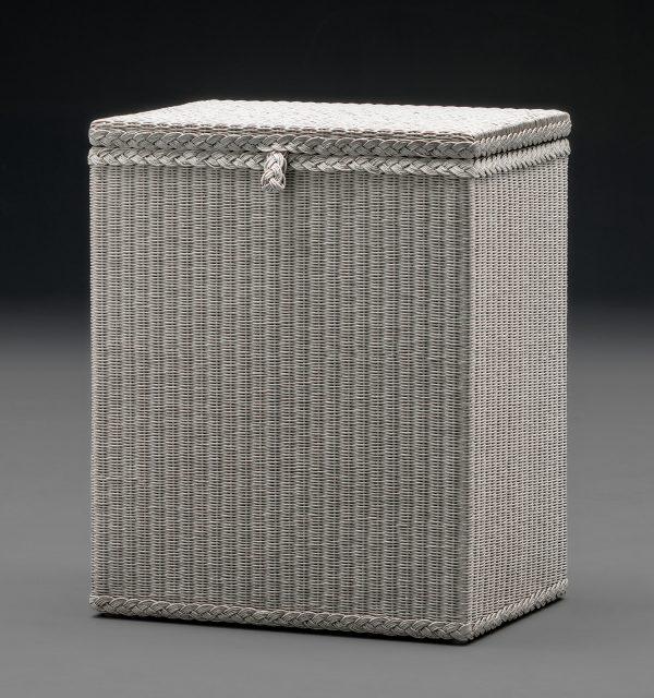 Lloyd Loom Linen Basket Rectangular Soho White Close Lid Front View