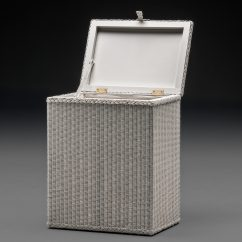 Lloyd Loom Linen Basket Rectangular Soho White Open Lid Front View