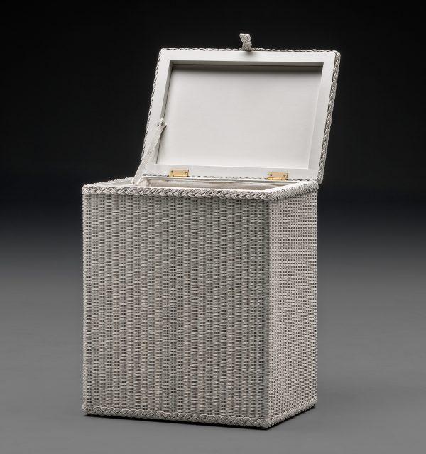 Lloyd Loom Linen Basket Rectangular Soho White Open Lid Front View