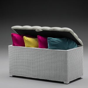 Lloyd Loom Linen Basket Padded Top Ottoman Open Top