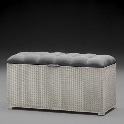 Lloyd Loom Linen Basket Padded Top Ottoman Closed Top