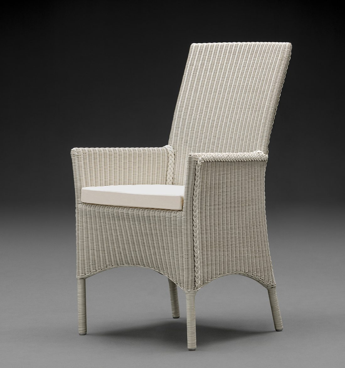 Lloyd Loom Parabola Arm Chair In Crisp Linen With A Cream Cushion