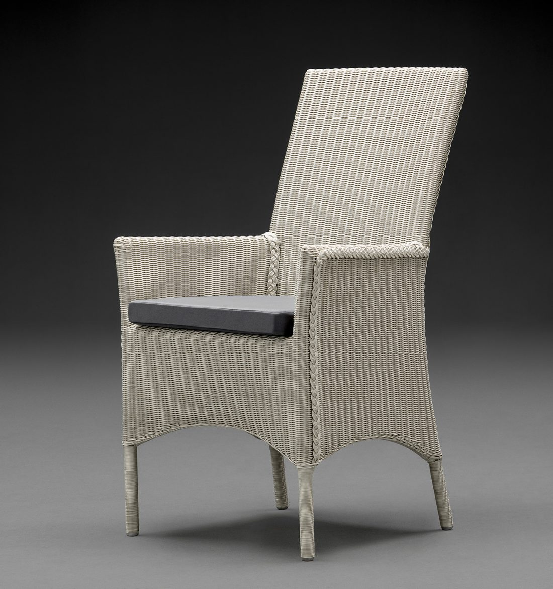 Lloyd Loom Parabola Arm Chair In Crisp Linen With A Grey Cushion