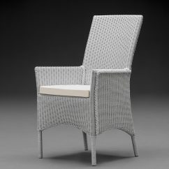 Lloyd Loom Parabola Arm Chair In Chelsea Grey With A Cream Cushion