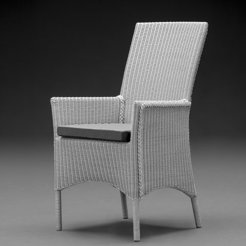 Lloyd Loom Parabola Arm Chair In Chelsea Grey With A Grey Cushion
