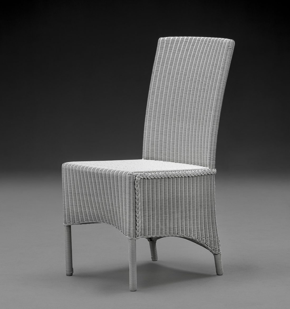 Lloyd Loom Parabola Arm Chair In Chelsea Grey From The Front